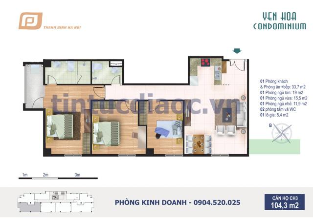 Căn hộ CH3 104,3m2 Chung cư Yên Hòa Condominium ngõ 259 Yên Hòa