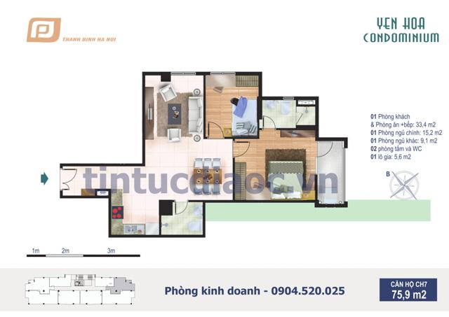 Căn hộ CH7 75,9m2 Chung cư Yên Hòa Condominium ngõ 259 Yên Hòa