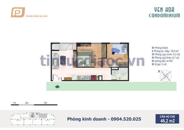 Căn hộ CH8 46,2m2 Chung cư Yên Hòa Condominium ngõ 259 Yên Hòa
