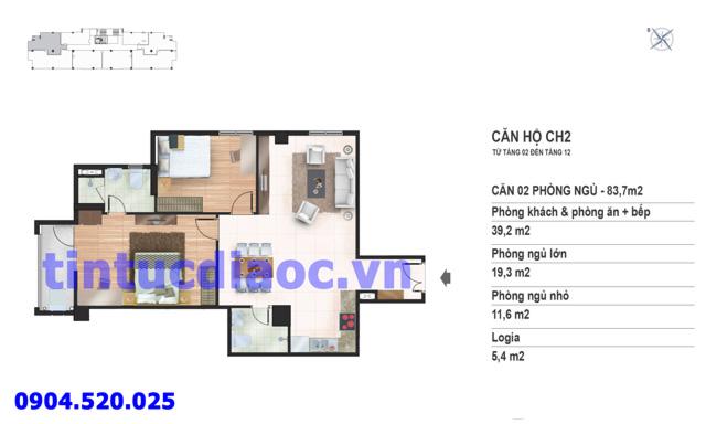 Căn hộ CH2 tầng 2 đến tầng 12 tòa N02 Chung cư Yên Hòa Condominium ngõ 259 Yên Hòa