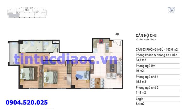 Căn hộ CH3 tầng 2 đến tầng 7 tòa N02 Chung cư Yên Hòa Condominium ngõ 259 Yên Hòa