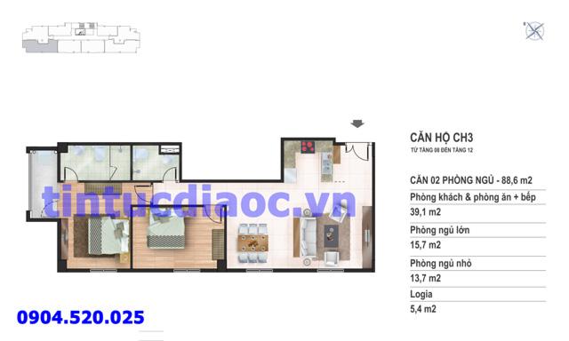 Căn hộ CH3 tầng 8 đến tầng 12 tòa N02 Chung cư Yên Hòa Condominium ngõ 259 Yên Hòa