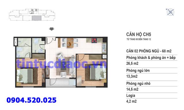 Căn hộ CH5 tầng 8 đến tầng 12 tòa N02 Chung cư Yên Hòa Condominium ngõ 259 Yên Hòa