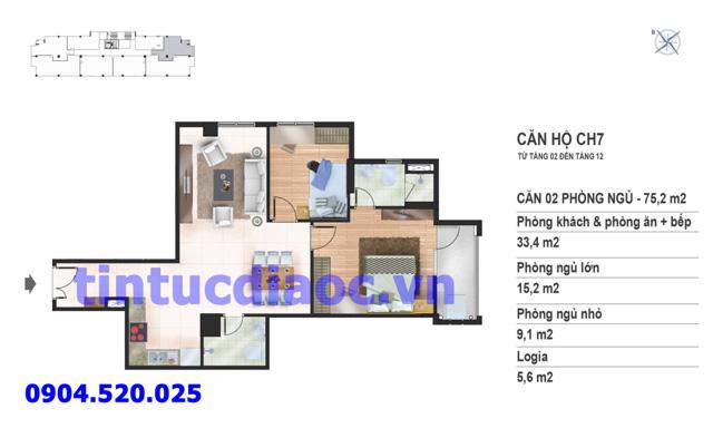Căn hộ CH7 tầng 2 đến tầng 12 tòa N02 Chung cư Yên Hòa Condominium ngõ 259 Yên Hòa