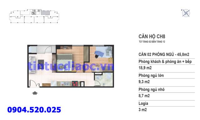 Căn hộ CH8 tầng 2 đến tầng 12 tòa N02 Chung cư Yên Hòa Condominium ngõ 259 Yên Hòa
