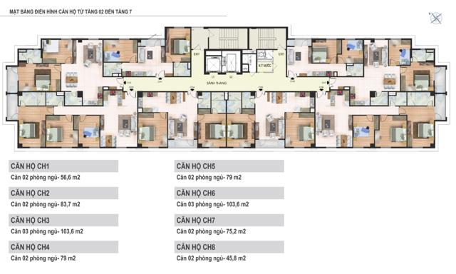 Mặt bằng tầng 2 đến tầng 7 tòa N02 Chung cư Yên Hòa Condominium ngõ 259 Yên Hòa