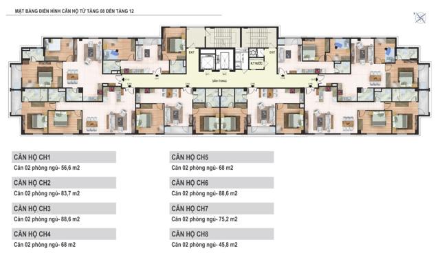 Mặt bằng tầng 8 đến tầng 12 tòa N02 Chung cư Yên Hòa Condominium ngõ 259 Yên Hòa
