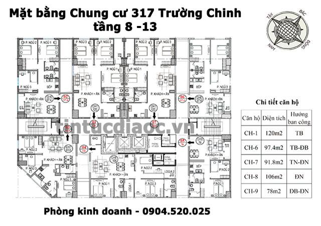 Mặt bằng Chung cư 317 Trường Chinh tầng 8 đến 13