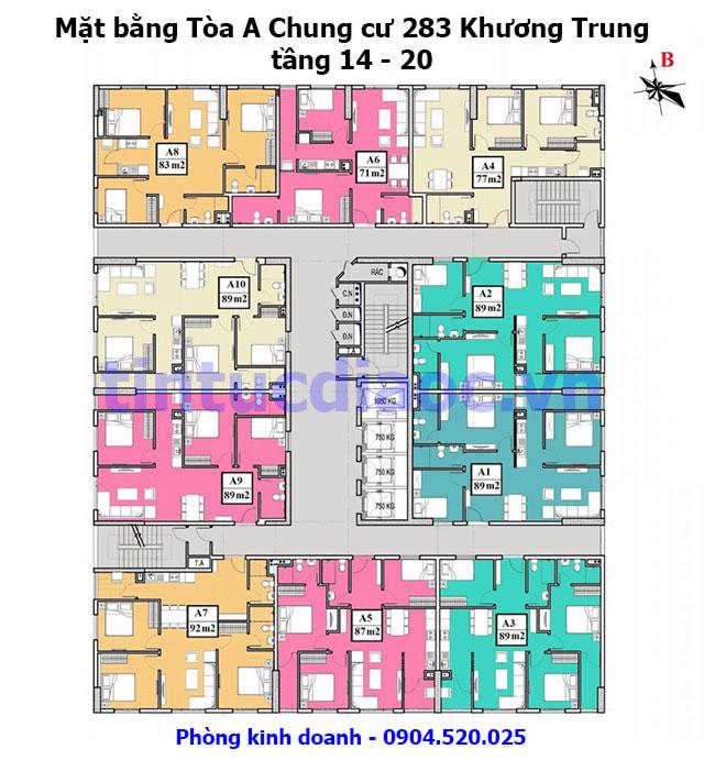 Mặt bằng tòa A Chung cư 283 Khương Trung tầng 14 - 20