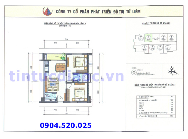 Cho thuê căn hộ 53m2 số 04 Chung cư N04b1 Dịch Vọng