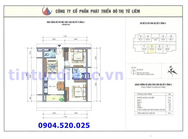 Cho thuê căn hộ 57m2 số 03 Chung cư N04b1 Dịch Vọng