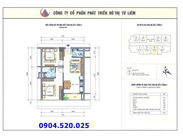 Cho thuê căn hộ 57m2 số 05 Chung cư N04b1 Dịch Vọng