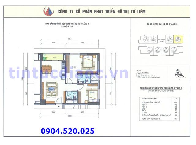 Cho thuê căn hộ 65m2 số 08 Chung cư N04b1 Dịch Vọng