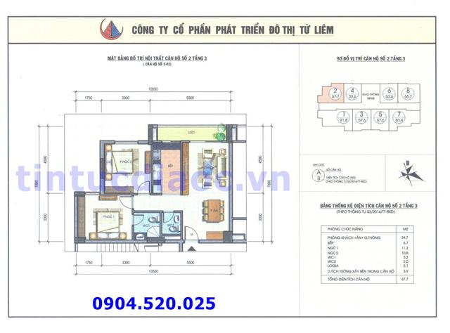 Cho thuê căn hộ 67m2 số 02 Chung cư N04b1 Dịch Vọng