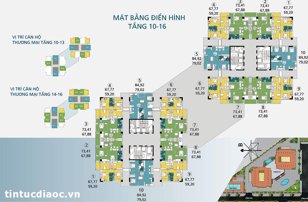Mặt bằng tầng 10 đến tầng 16 Chung cư Ngoại giao đoàn N04A