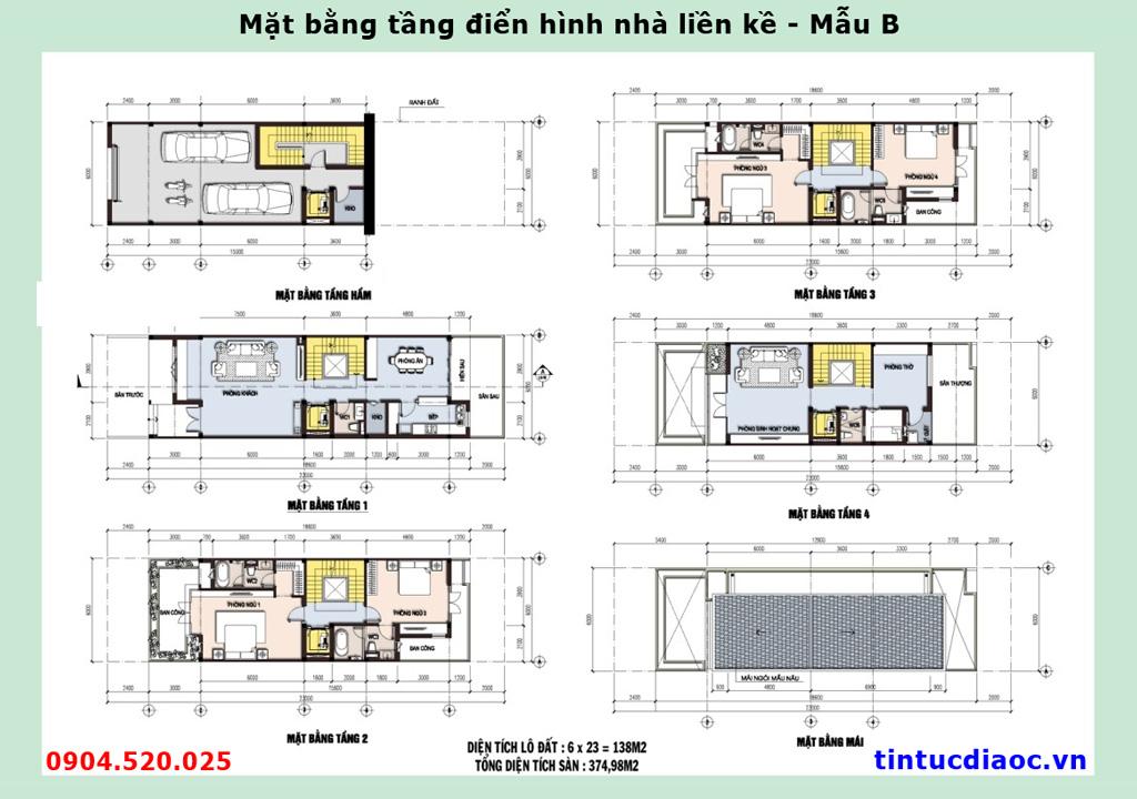 Mặt bằng tầng điển hình nhà Liền kề 671 Hoàng Hoa Thám - Mẫu B