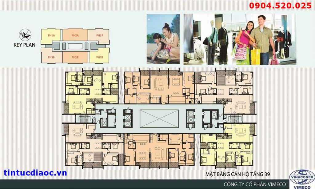 Mặt bằng chung cư CT4 VImeco - Tầng 39