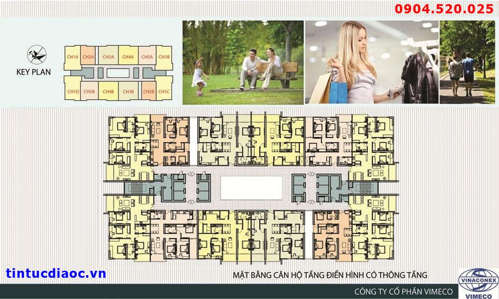 Mặt bằng chung cư CT4 VImeco - Tầng có thông tầng