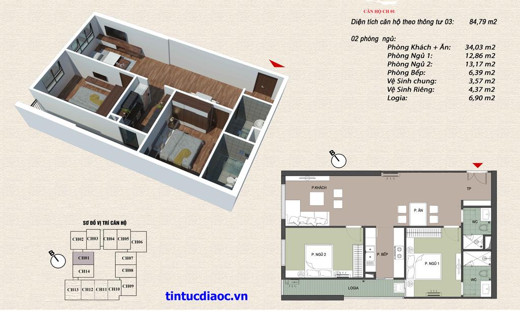Căn hộ CH01 Chung cư Eco Green Tower số 1 Giáp Nhị
