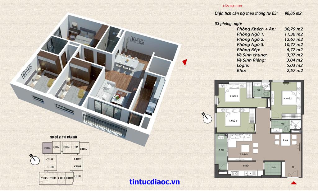 Căn hộ CH02 Chung cư Eco Green Tower số 1 Giáp Nhị