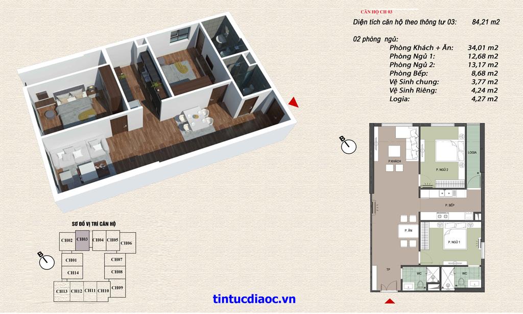 Căn hộ CH03 Chung cư Eco Green Tower số 1 Giáp Nhị