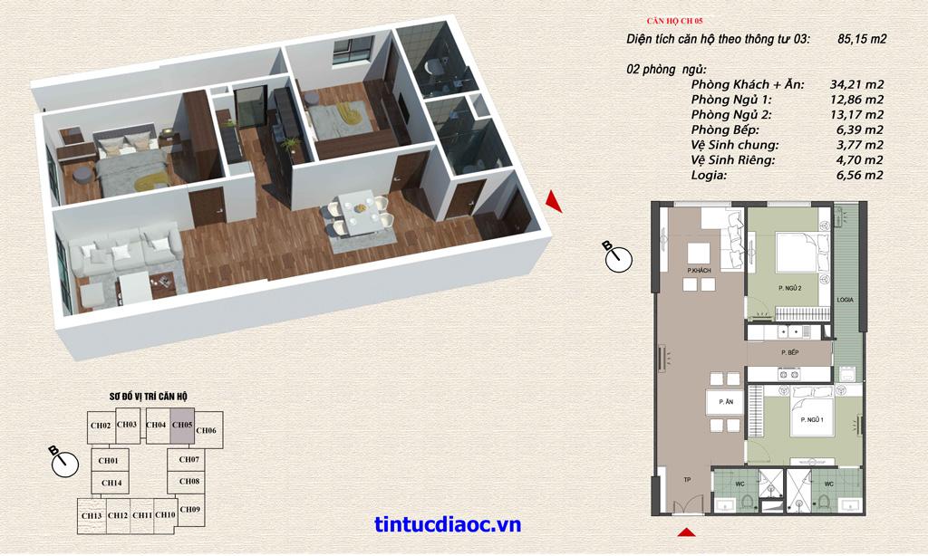 Căn hộ CH05 Chung cư Eco Green Tower số 1 Giáp Nhị