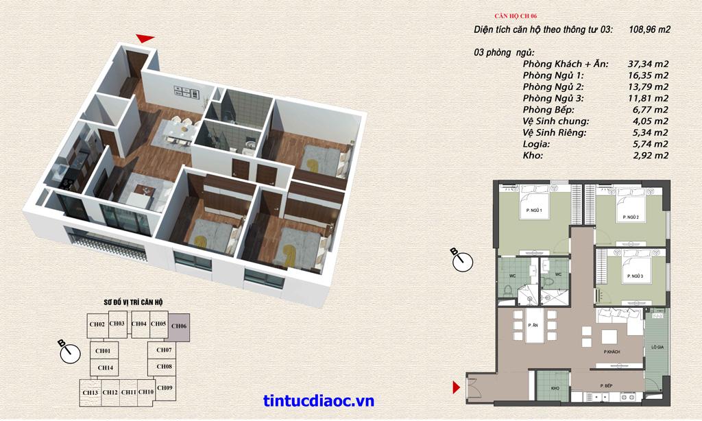 Căn hộ CH06 Chung cư Eco Green Tower số 1 Giáp Nhị