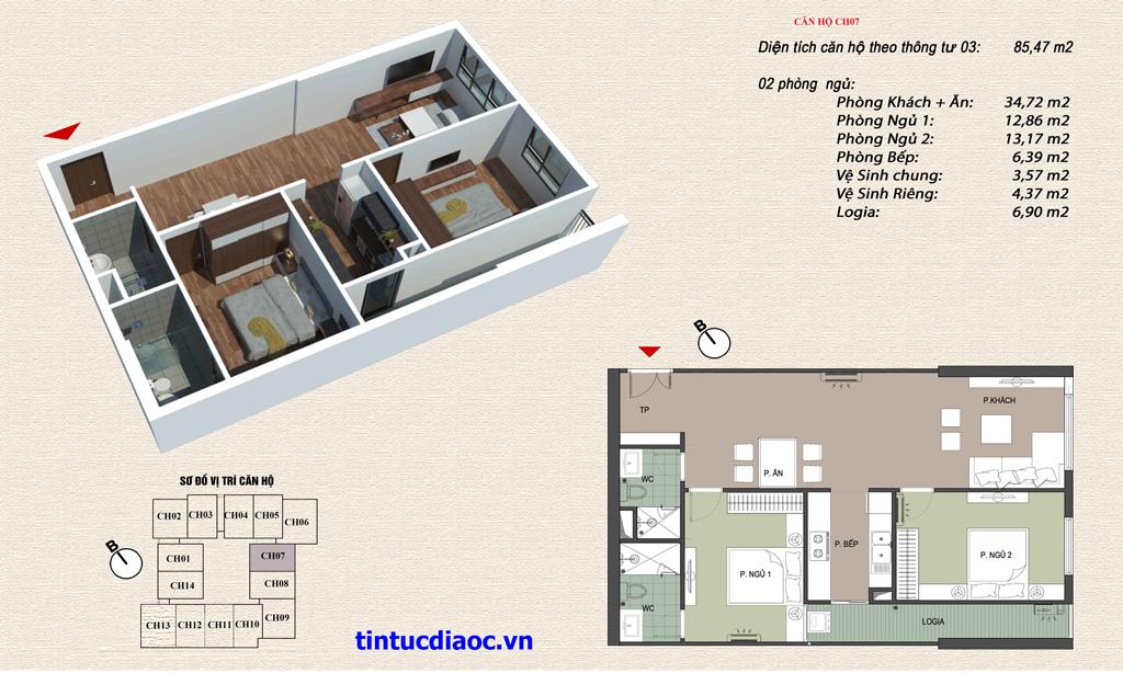 Căn hộ CH07 Chung cư Eco Green Tower số 1 Giáp Nhị