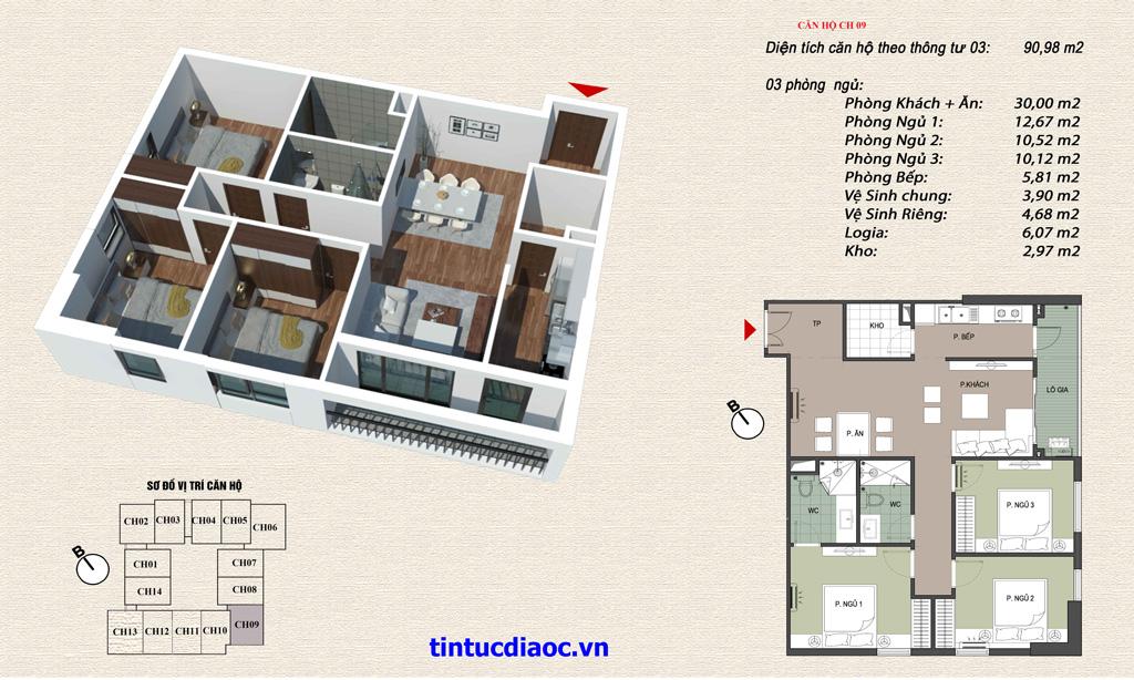 Căn hộ CH09 Chung cư Eco Green Tower số 1 Giáp Nhị