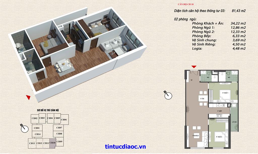 Căn hộ CH10 Chung cư Eco Green Tower số 1 Giáp Nhị