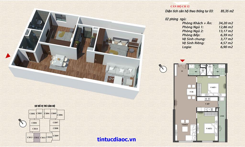 Căn hộ CH12 Chung cư Eco Green Tower số 1 Giáp Nhị