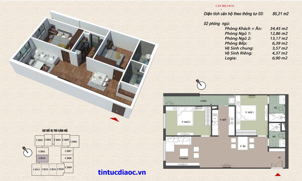 Căn hộ CH14 Chung cư Eco Green Tower số 1 Giáp Nhị