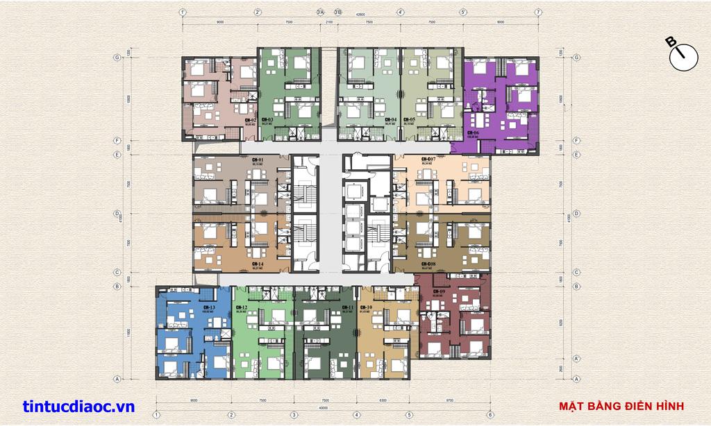 Mặt bằng căn hộ Chung cư Eco Green Tower số 1 Giáp Nhị