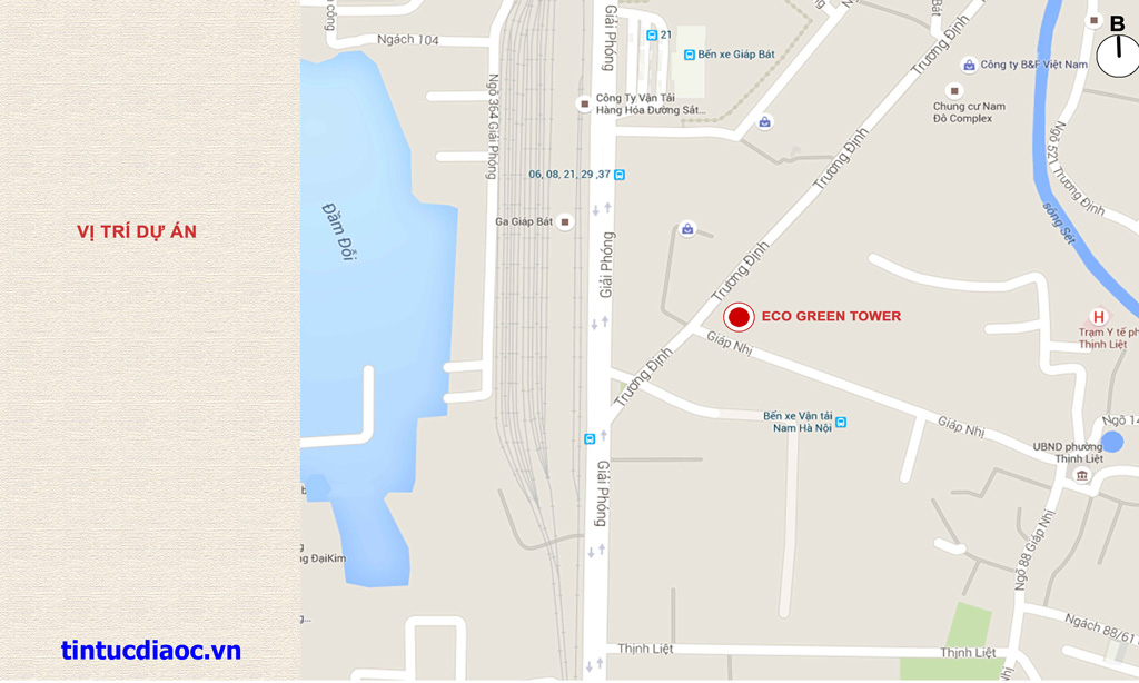 Vị trí Chung cư Eco Green Tower số 1 Giáp Nhị