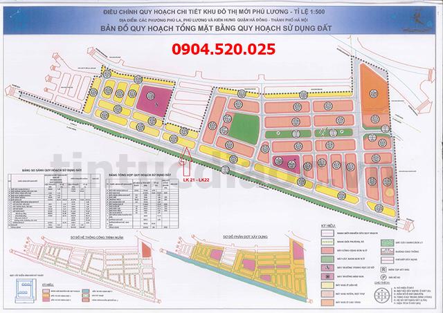 Sơ đồ Khu đô thị mới Phú Lương 1/500