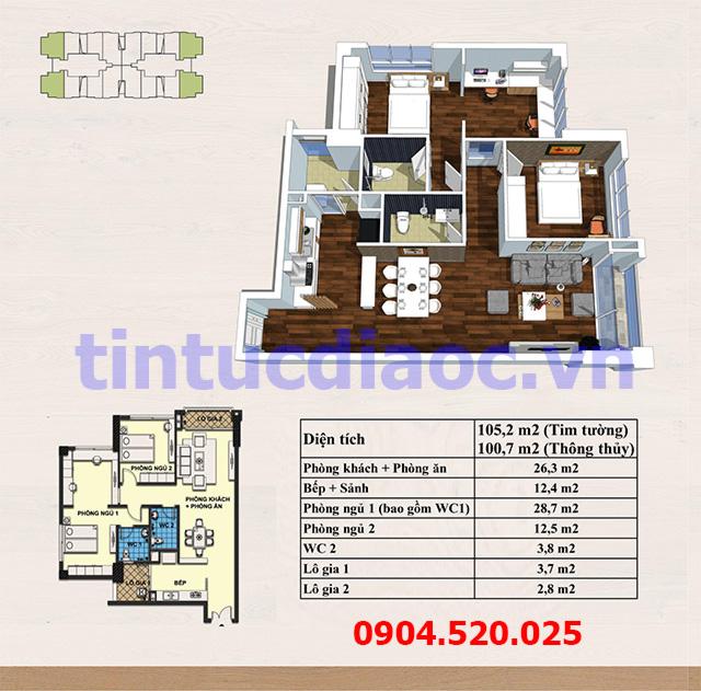 Căn hô 100,7m2 Chung cư Handi Resco Tower 89 Lê Văn Lương