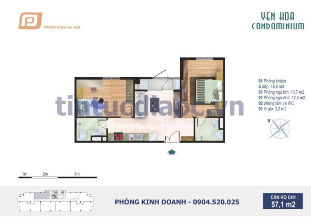 Căn hộ CH1 57,1m2 Chung cư Yên Hòa Condominium ngõ 259 Yên Hòa