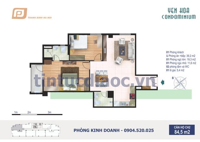 Căn hộ CH2 84,5m2 Chung cư Yên Hòa Condominium ngõ 259 Yên Hòa