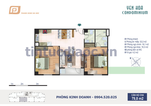 Căn hộ CH4 79,8m2 Chung cư Yên Hòa Condominium ngõ 259 Yên Hòa