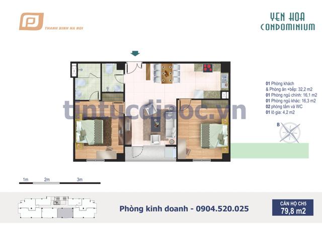 Căn hộ CH5 79,8m2 Chung cư Yên Hòa Condominium ngõ 259 Yên Hòa