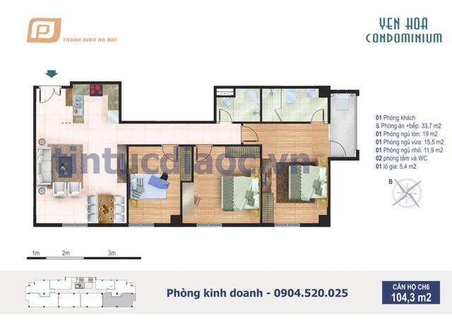 Căn hộ CH6 104,3m2 Chung cư Yên Hòa Condominium ngõ 259 Yên Hòa