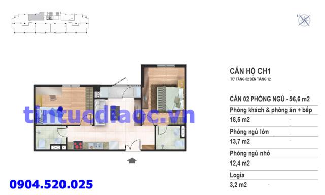 Căn hộ CH1 tầng 2 đến tầng 12 tòa N02 Chung cư Yên Hòa Condominium ngõ 259 Yên Hòa
