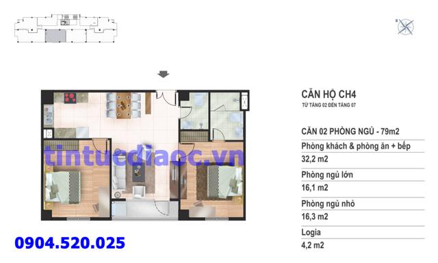 Căn hộ CH4 tầng 2 đến tầng 7 tòa N02 Chung cư Yên Hòa Condominium ngõ 259 Yên Hòa