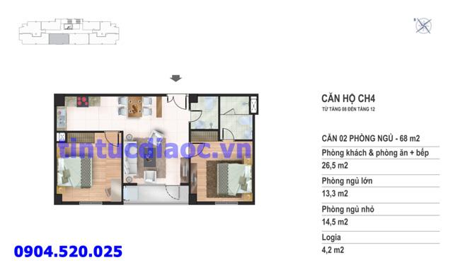 Căn hộ CH4 tầng 8 đến tầng 12 tòa N02 Chung cư Yên Hòa Condominium ngõ 259 Yên Hòa