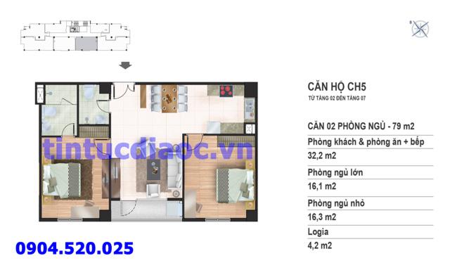 Căn hộ CH5 tầng 2 đến tầng 7 tòa N02 Chung cư Yên Hòa Condominium ngõ 259 Yên Hòa