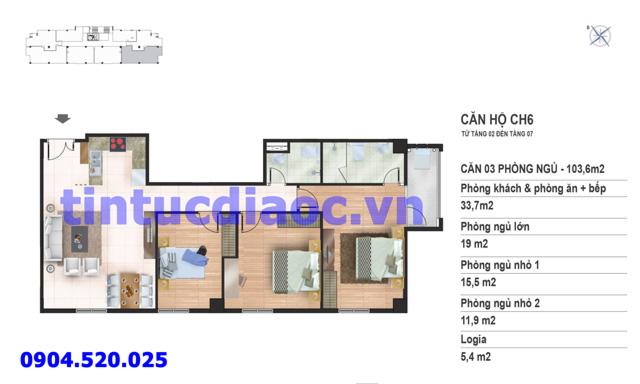 Căn hộ CH6 tầng 2 đến tầng 7 tòa N02 Chung cư Yên Hòa Condominium ngõ 259 Yên Hòa