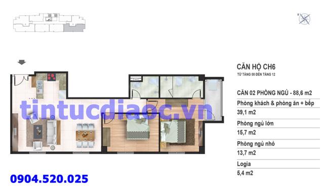 Căn hộ CH6 tầng 8 đến tầng 12 tòa N02 Chung cư Yên Hòa Condominium ngõ 259 Yên Hòa