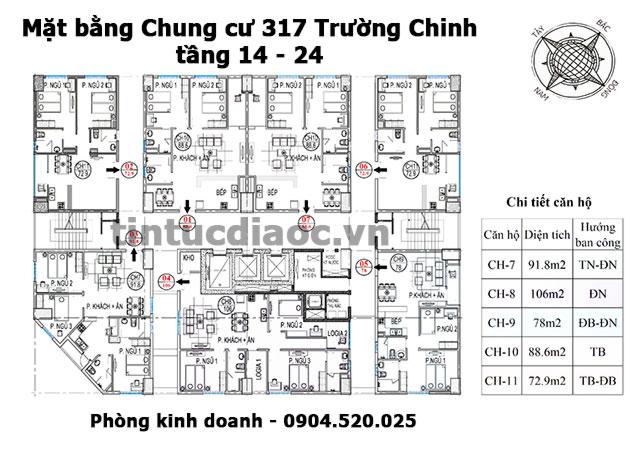 Mặt bằng Chung cư 317 Trường Chinh tầng 14 đến 24