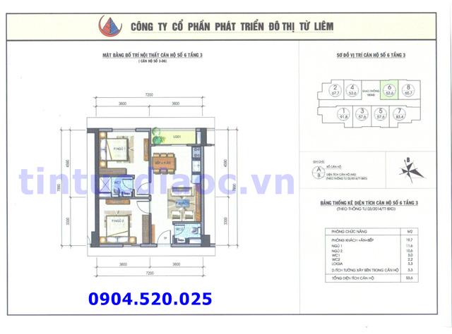 Cho thuê căn hộ 53m2 số 06 Chung cư N04b1 Dịch Vọng