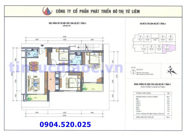 Cho thuê căn hộ 83m2 số 07 Chung cư N04b1 Dịch Vọng